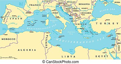Mediterranean Sea Region Political - Region of lands around...