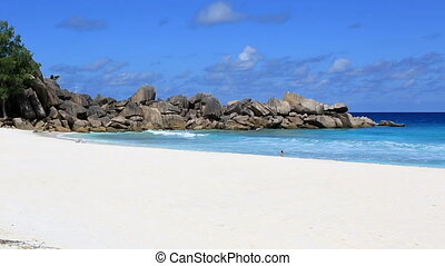 Beautiful beach Grande Anse. Island of La Digue in...