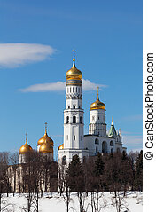 Beautiful view of Ivan Great Bell Tower in sunny winter day, Moscow Kremlin, Russia