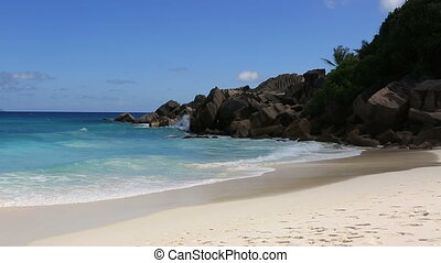 Beautiful beach Anse Petit. Time Lapse - Beautiful beach...