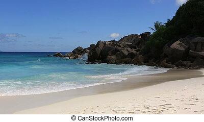 Beautiful beach Anse Petit. Time Lapse - Beautiful beach...