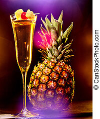 Champagne cocktail with cherry and pineapple 42 - Champagne...