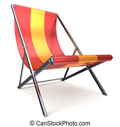 Beach chair chaise longue red yellow nobody relaxation icon...