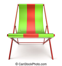 Beach chair chaise longue green red nobody relaxation icon -...