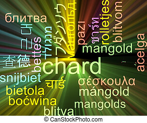 Chard multilanguage wordcloud background concept glowing -...