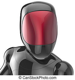 Black robot cyborg bot android futuristic artificial...