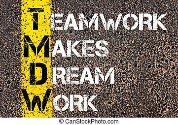 Teamwork makes dream work motivational quote.