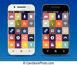 Cellphones with flat icons, vector