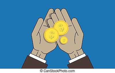 Coins on the palm