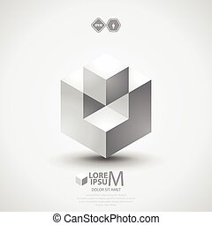 Cube logo - 3D cube logo design. Science or technological...