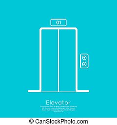 Icon elevator with closed doors vector minimal, outline