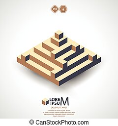 Pyramid logotype, icon. Vector illustration