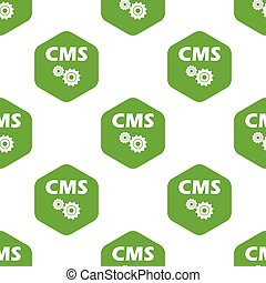 CMS pattern - Text CMS and two gears in hexagon, repeated on...