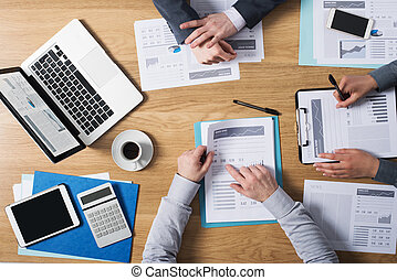 Business teamwork - Business people team working together at...