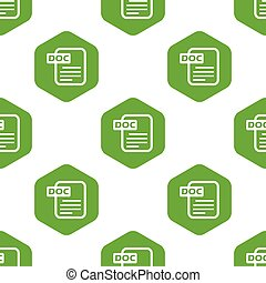 Doc pattern - Vector image of doc file in hexagon, repeated...