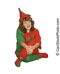 Elf Sitting Curled up - Cute little female elf sitting...