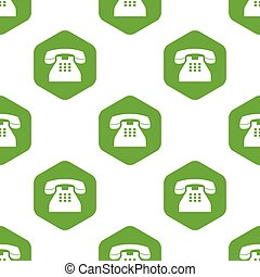 Old phone pattern - Image of old phone in hexagon, repeated...