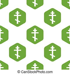 Orthodox cross pattern - Image of orthodox cross in hexagon,...