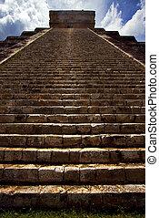 itza,  Chichen,  Kukulkan, Escaleras, templo