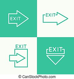 Emergency exit sign. - Emergency exit sign icon. vector....