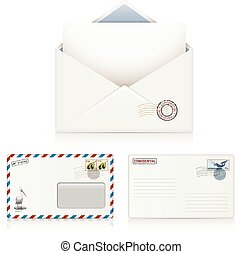 Postal Envelopes - Set of Postal Business Envelopes. Vector...