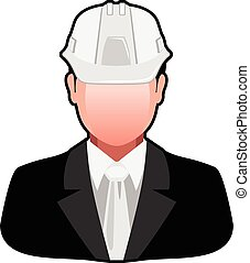 Icon Engineer in Safety Helmet isolated on white background...