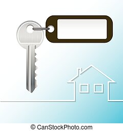 key house - Illustration Key to the castle with tag and...