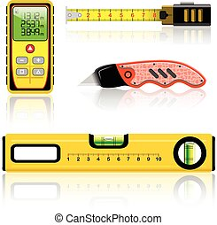 measuring tool - Yellow laser range finder, spirit level,...