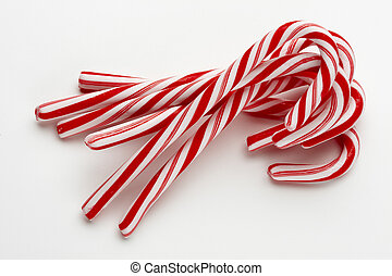 Group of candy canes - group of several candy canes shot on...