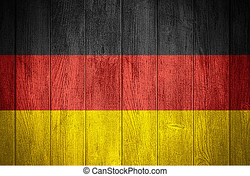Germany flag or German banner on wooden boards background