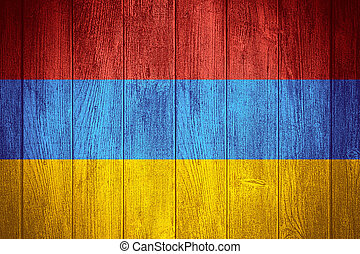 Armenia flag or Armenian banner on wooden boards background