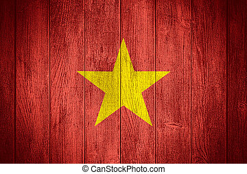 Vietnam flag or Vietnamese banner on wooden boards...