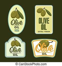 Set of vector Olive oil badges.