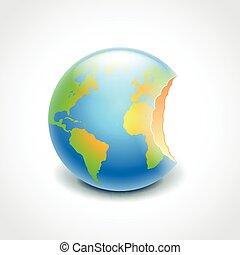 Bitten globe, environment concept vector - Bitten globe like...