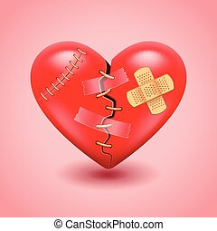 Broken heart vector background - Big broken heart photo...