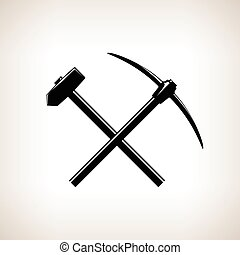 Silhouette of a Crossed Pickaxe and Sledgehammer on a Light...