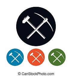 Icon of a Crossed Pickaxe and Sledgehammer on a Light...