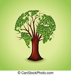 Tree world concept vector background