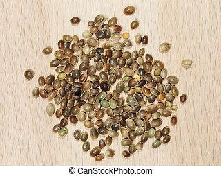 Hemp seeds close up