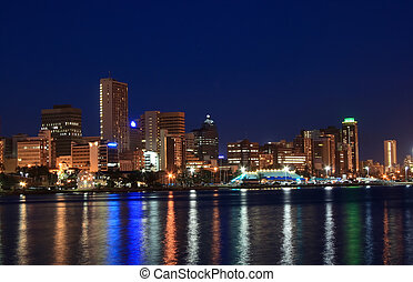Durban city night lights - the lights reflecting off the...