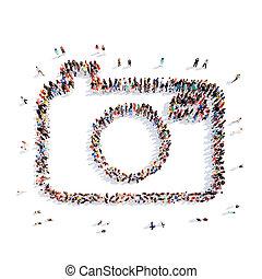 pessoas, em, a, forma, de, Um, câmera.,