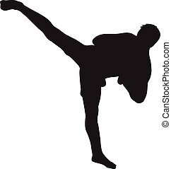 Muay thai fighter silhouette - Silhouette vector of a...