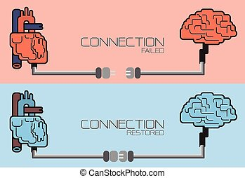 Connection of brain and heart ,plug concept