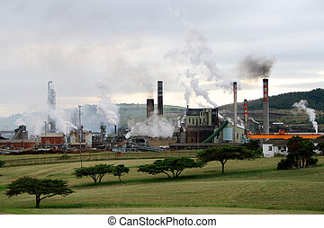 paper mill - a paper factory in Durban, South Africa on a...
