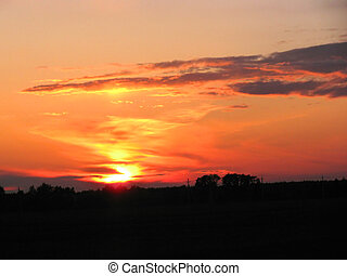 Scenic sunset - Vibrant orange and golden sunset