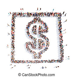 people in the form of money sign Dollar - A large group of...