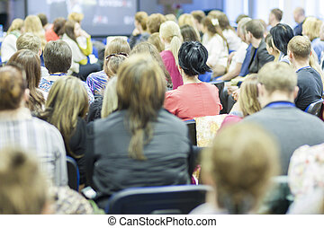 グループ, 監視, 大きい, 人々, 背中, スクリーン, ミーティング, プレゼンテーション, 光景