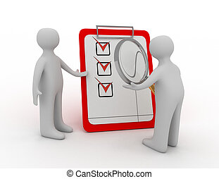 Man checks a checklist with a magnifying glass