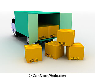 truck with boxes