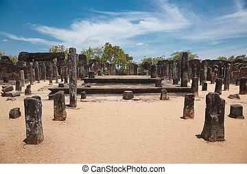 Ruins. Ancient city of Polonnaruwa. Sri Lanka - Pillars....